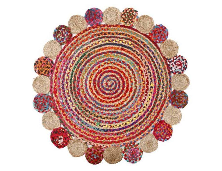 שטיח הודי צבעוני עיגולים