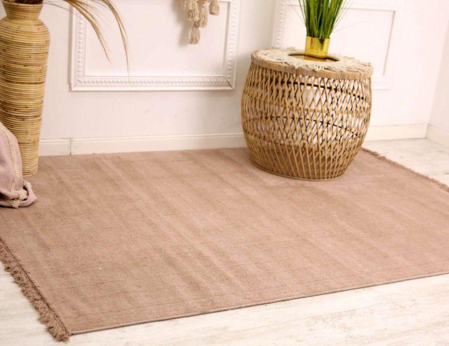 שטיח ורוד פודרה נקי כותנה - דומיניק