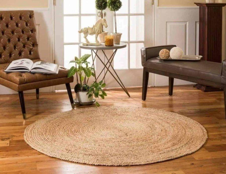 שטיח חבלים עגול טבעי הודי בוהו שיק