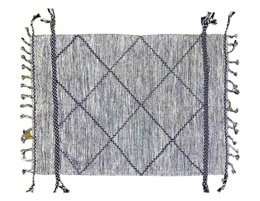 שטיח כותנה יהלם כחול בוהו שיק