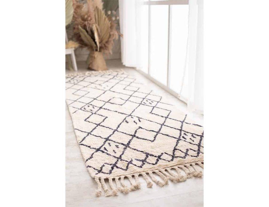 שטיח לסלון ולחדר השינה בוהו שיק מעויינים חושן כותנה
