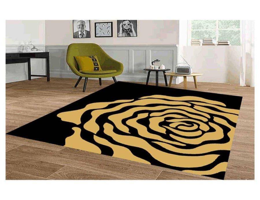 שטיח מודרני לסלון N1454A שחור זהב