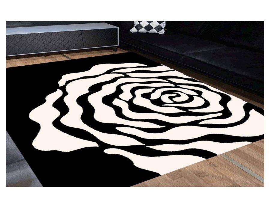 שטיח מודרני לסלון N1454A שחור לבן
