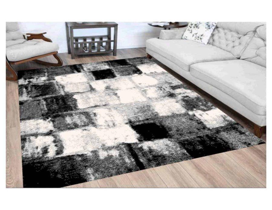 שטיח מודרני לסלון N1388A שחור לבן