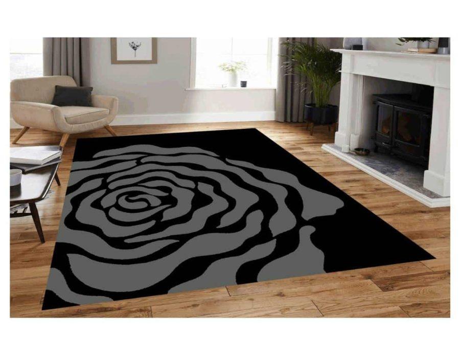 שטיח מודרני לסלון N1454A שחור אפור