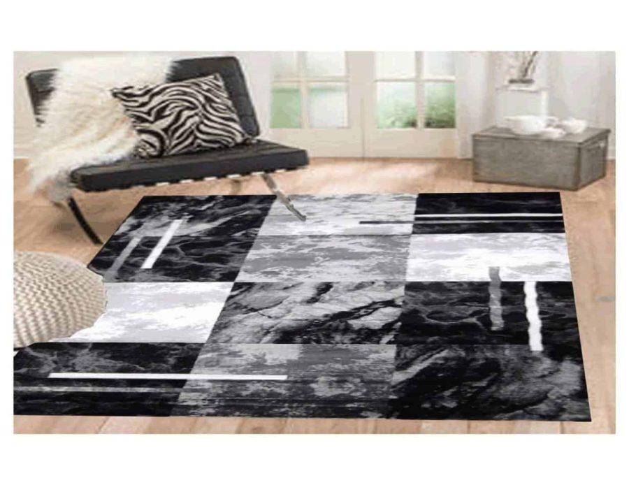 שטיח מודרני לסלון N1453A אפור שחור