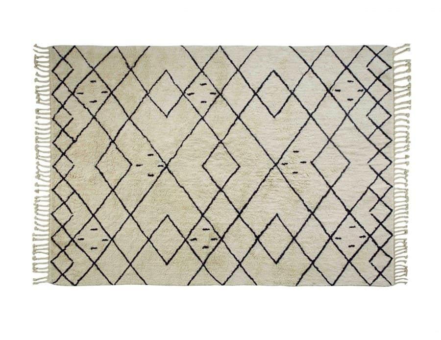 שטיח מעויינים לסלון ולחדר השינה בסגנון בוהו בצבע שמנת - שטיח חושן
