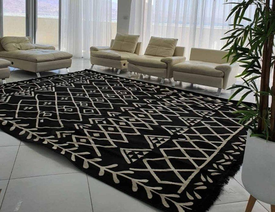 שטיח מרקש מרוקאי שחור עם לבן
