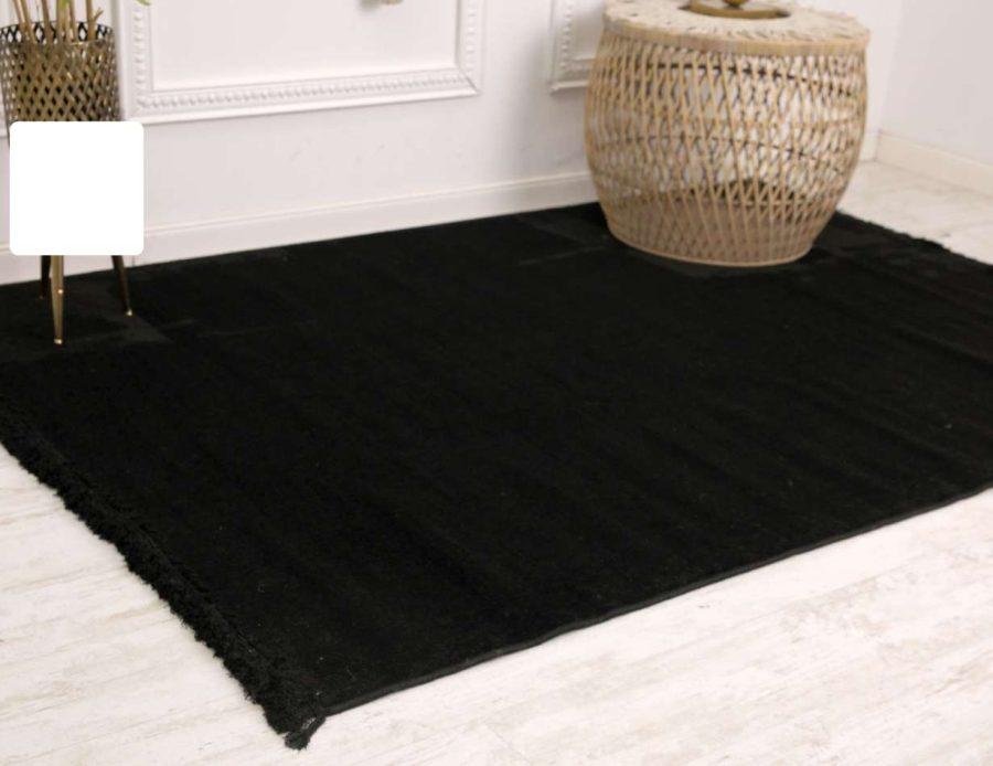שטיח שחור נקי כותנה - דומיניק