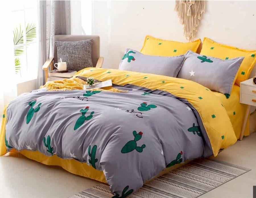 סט מצעים למיטה צהוב אפור פסטיבל 01