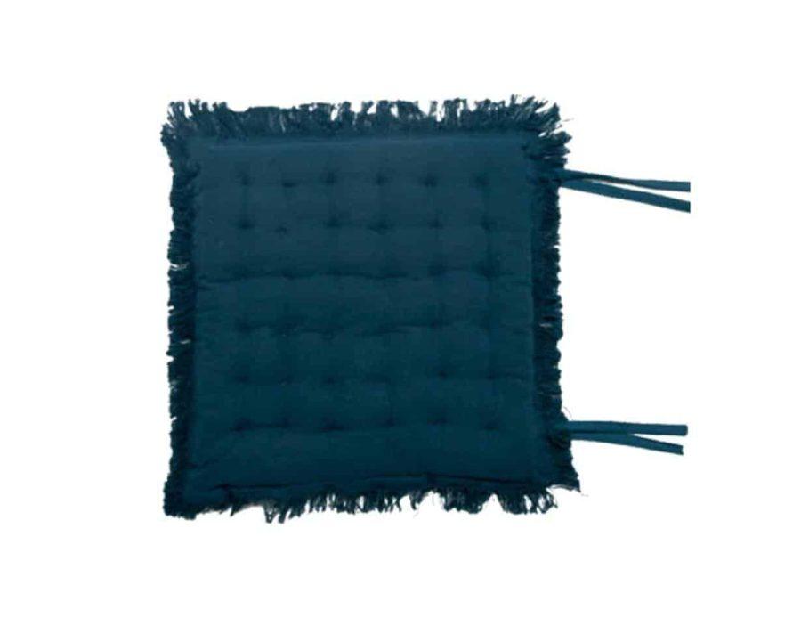 אשלי כרית ישיבה 100% כותנה כחול