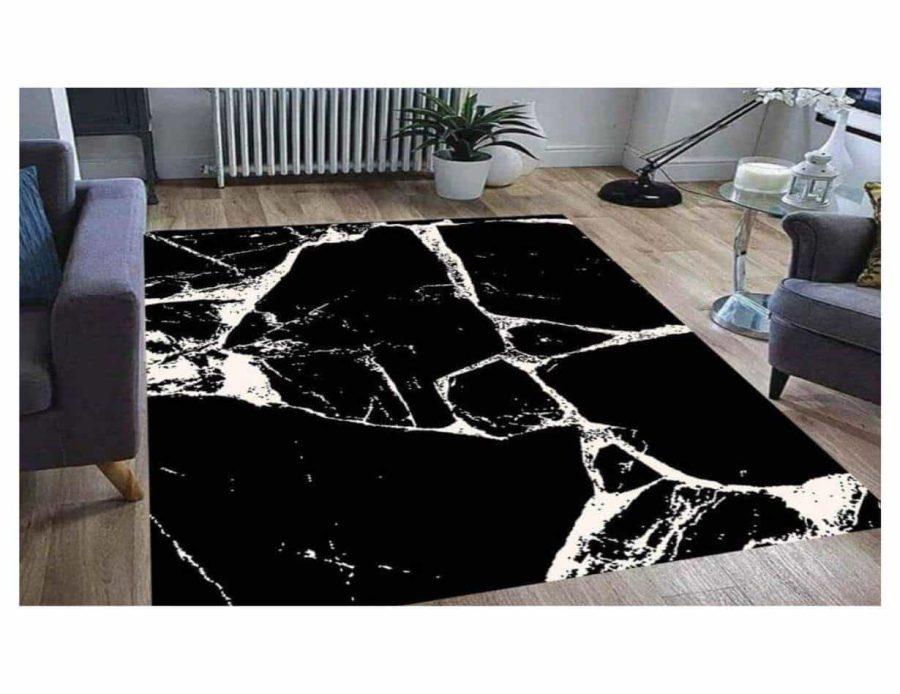שטיח מודרני שחור לבן שיש NO27