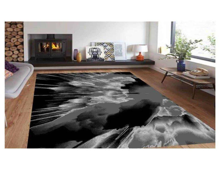 שטיח מודרני אפור שחור NO14