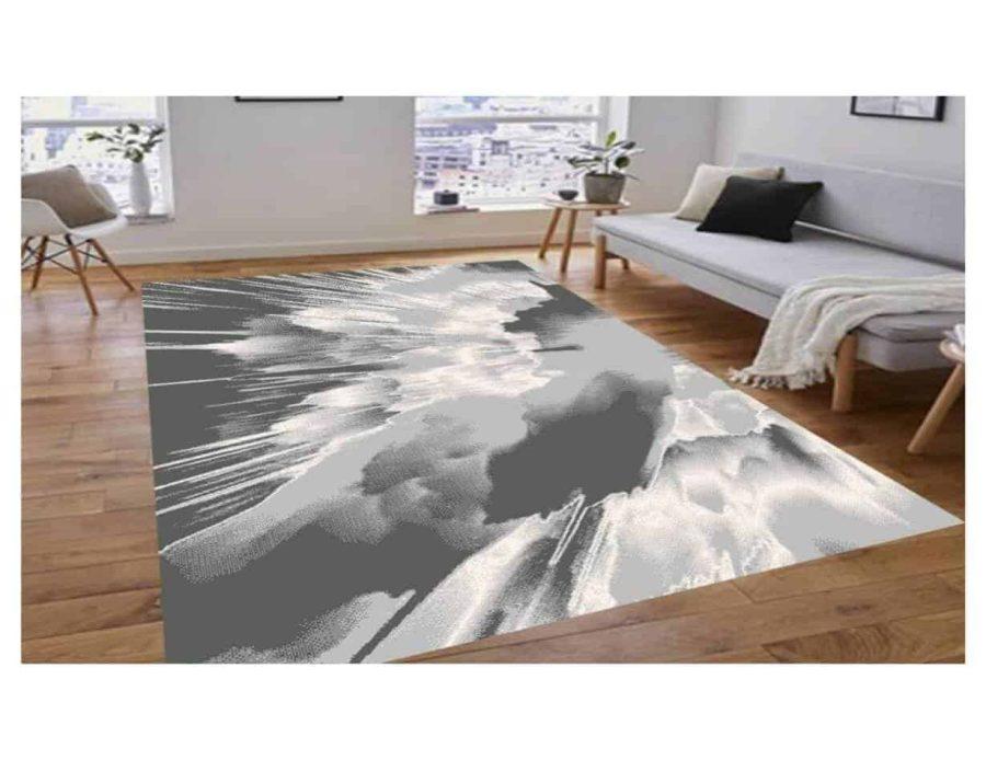 שטיח מודרני אפור לבן NO15