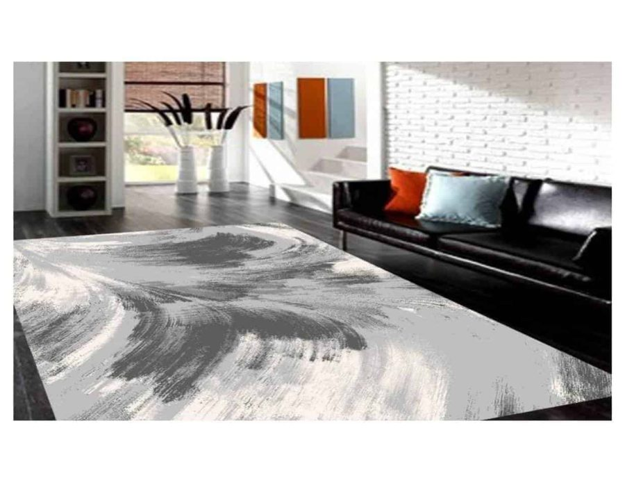 שטיח מודרני דגם יפן אפור לבן NO23