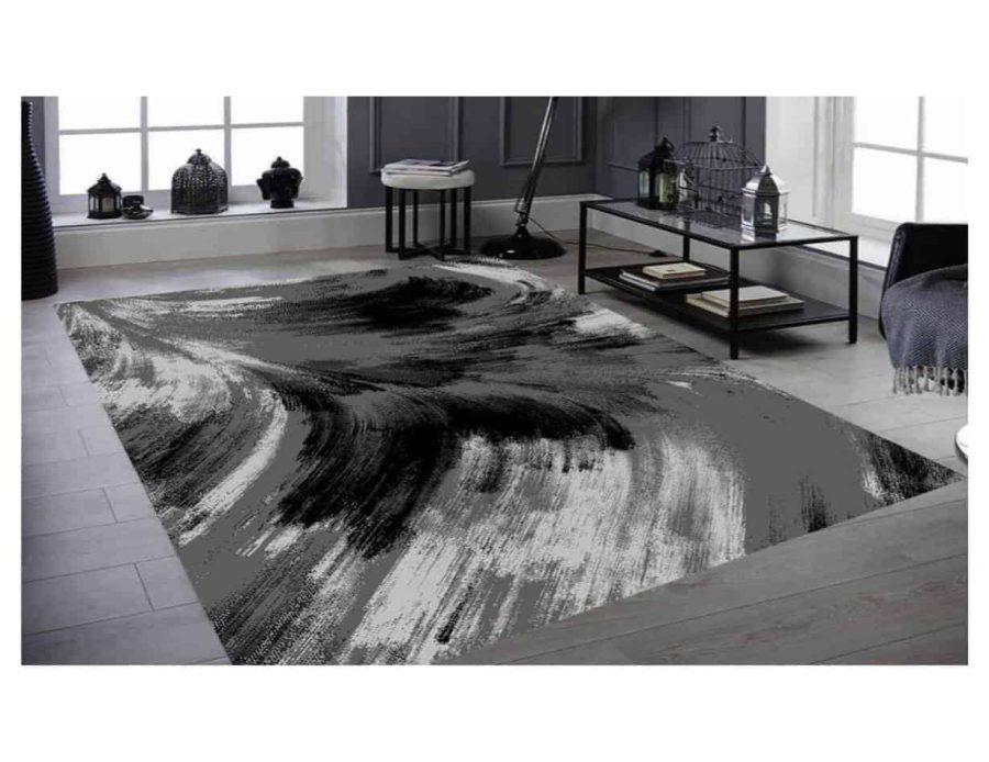 שטיח מודרני שחור אפור NO22