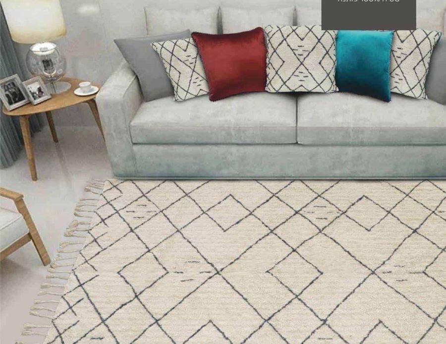 שטיח חושן כותנה לבן בוהושיק