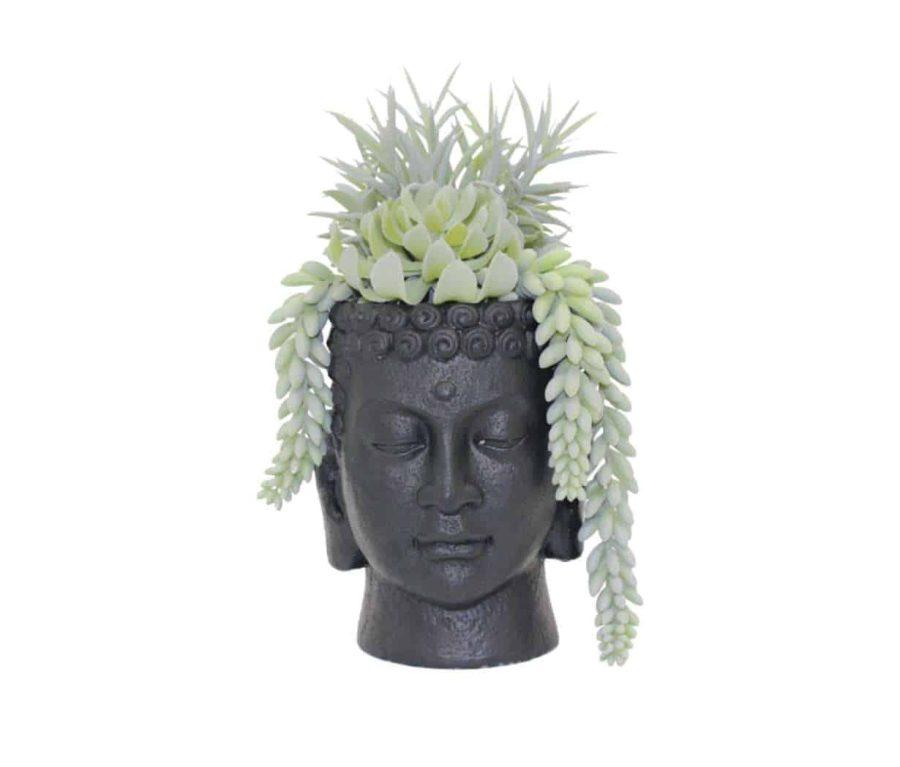 בית עציץ ראש בודהה שחור הום סטיילינג