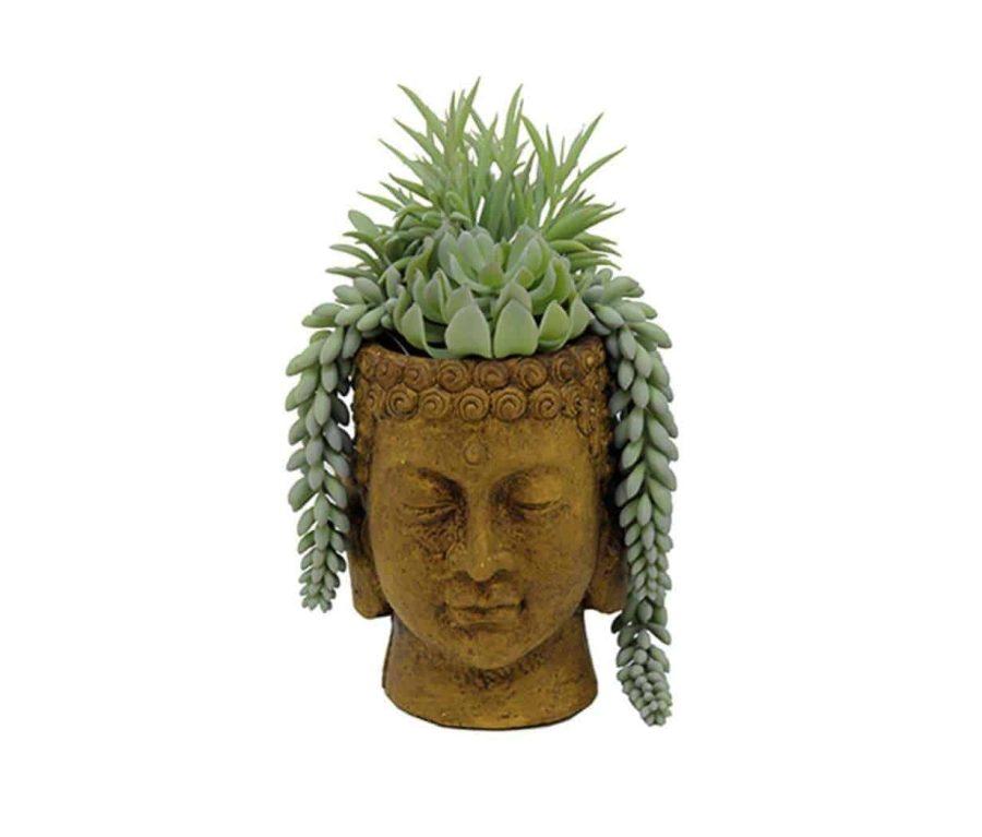 בית עציץ ראש בודהה חרדל הום סטיילינג