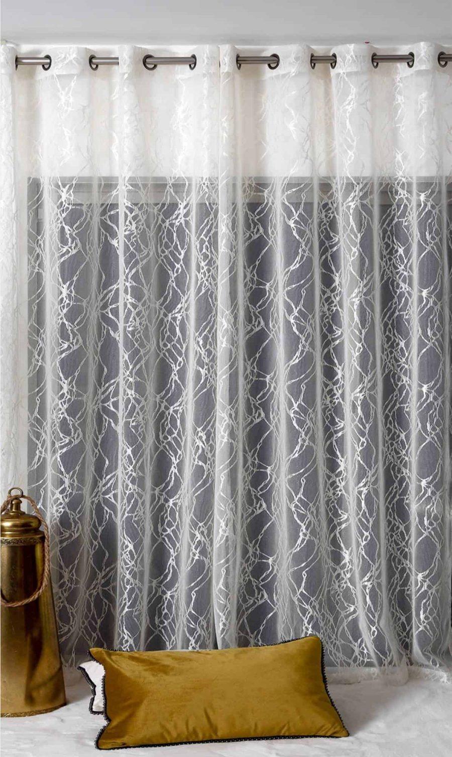 וילון ג'קארד רשת בעיצוב מודרני לסלון ולחדר השינה - שוהם