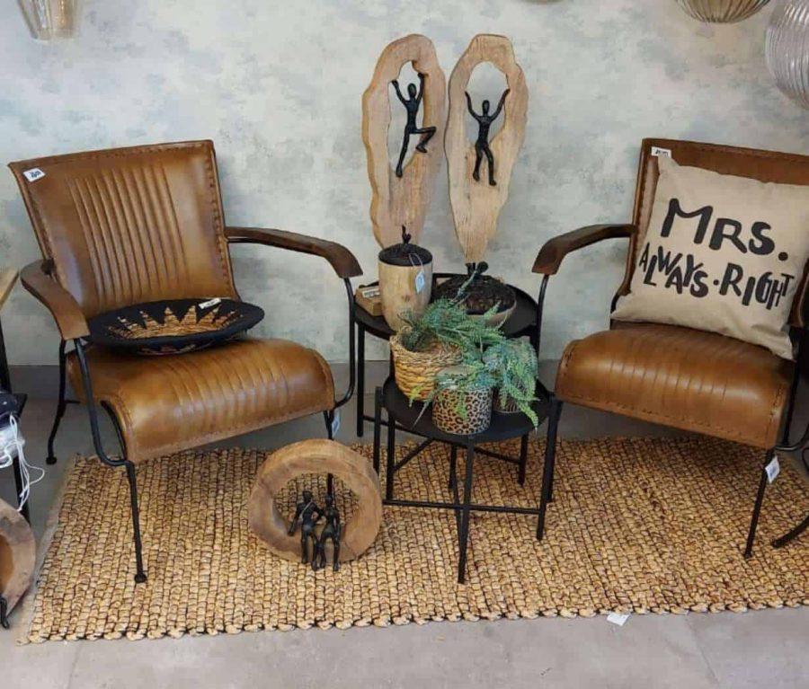 כיסא עור חום full grain