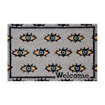 שטיח כניסה לבית קוקוס איכותי - הום סטיילינג - עין הרע - העין הטובה אפור