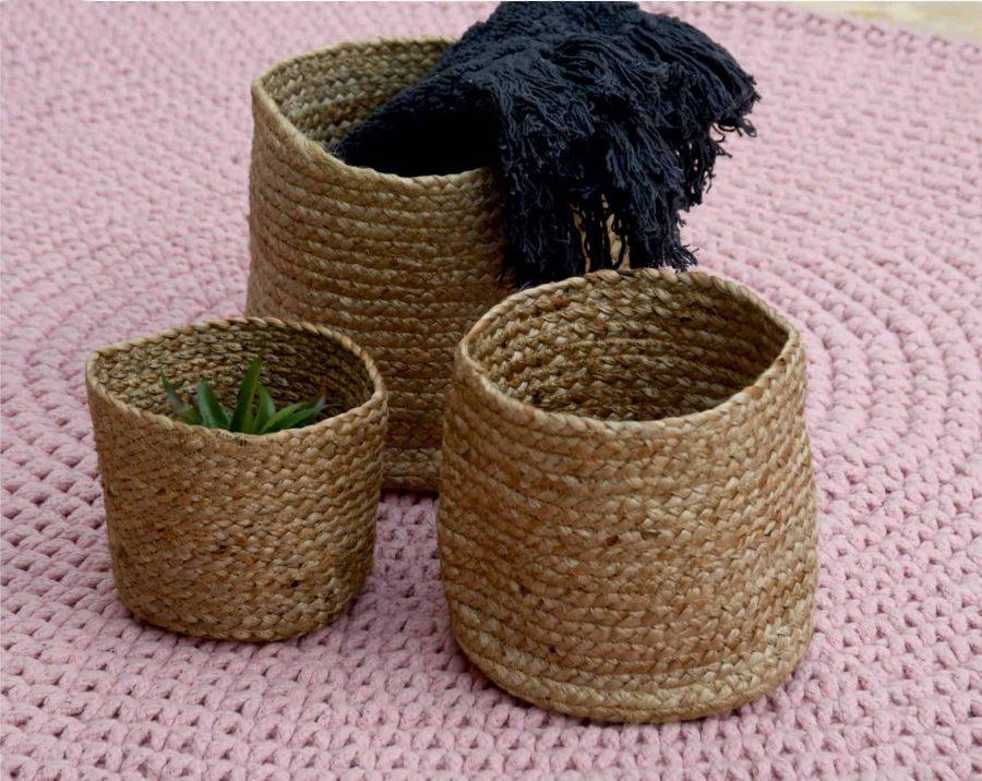 סלסלאות חבל טבעי בסגנון בוהו שיק טהיטי