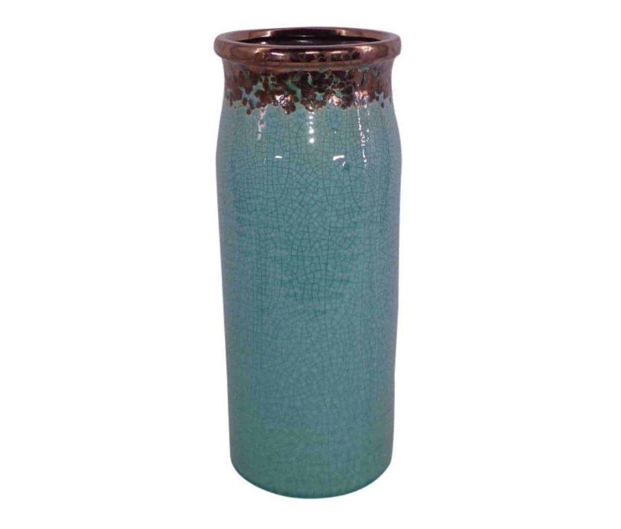 אגרטל צר וגבוה בצבע טורקיז