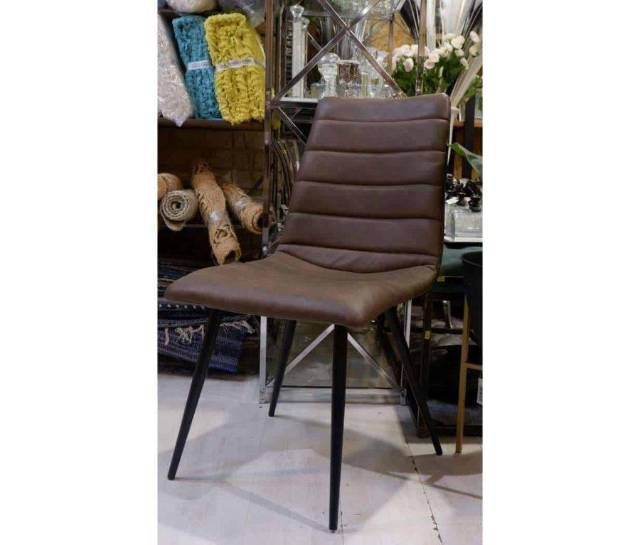 כיסא עור לפינת אוכל צבע חום