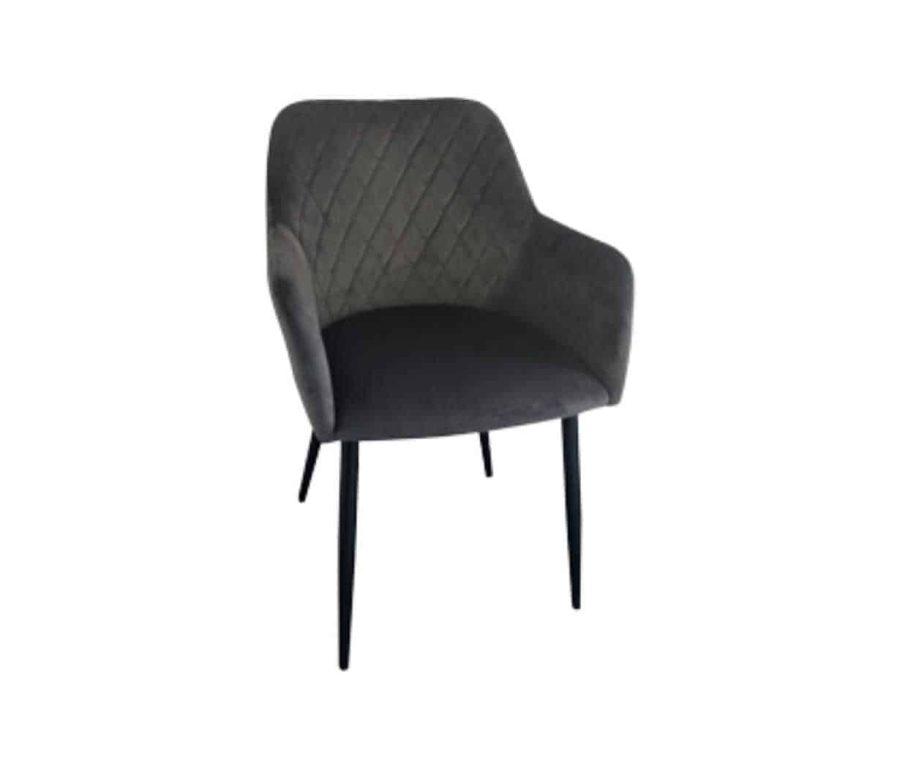 כיסא קטיפה אפור לפינת אוכל