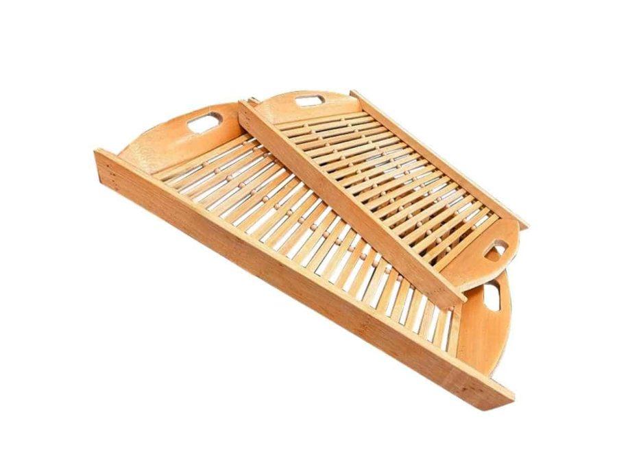 זוג מגשי במבוק פסים - כלי הגשה מעץ