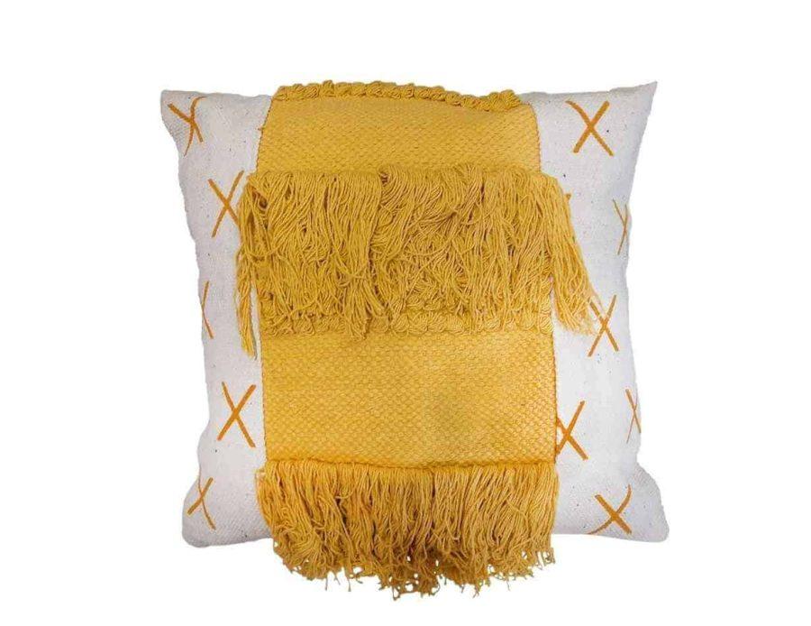 כרית בוהו צהובה חרדל כרית פרווה צהובה