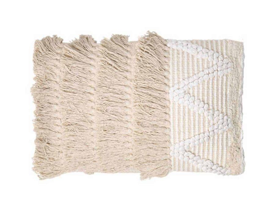 כרית בוהו שיק כפרית בצבע בז' טבעי - מלבן