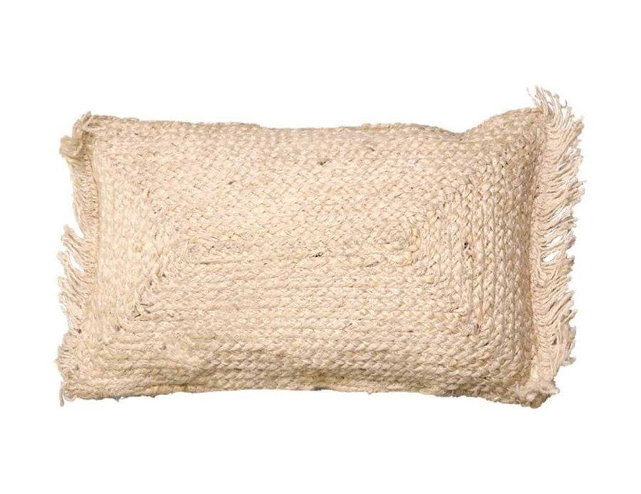 כרית חבל בצבע שמנת סגנון כפרי בוהו שיק - ארובה מלבן