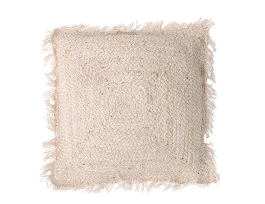 כרית חבל בצבע שמנת סגנון כפרי בוהו שיק - ארובה ריבוע