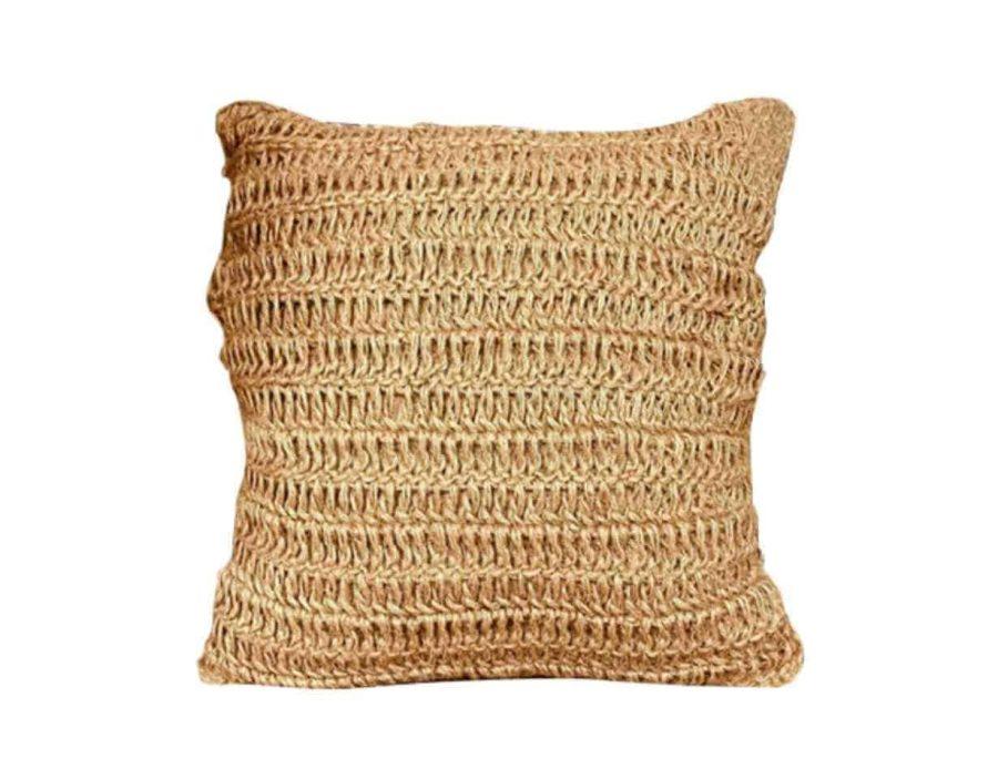 כרית חבל פשתן בסגנון כפרי בוהו שיק
