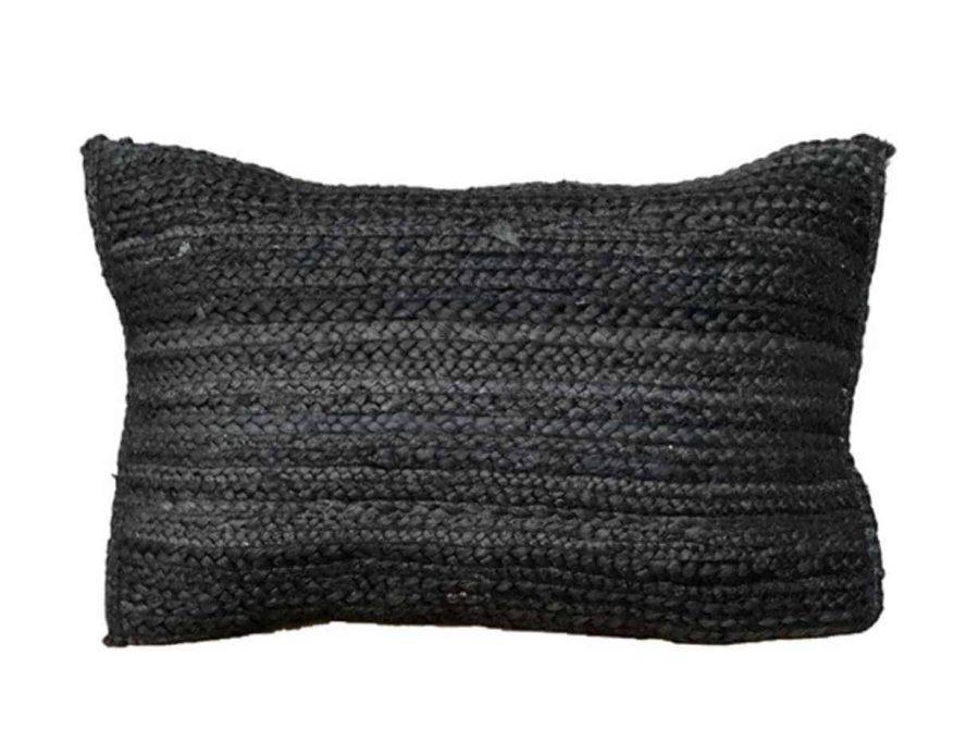 כרית חבל שחורה בסגנון כפרי בוהו שיק