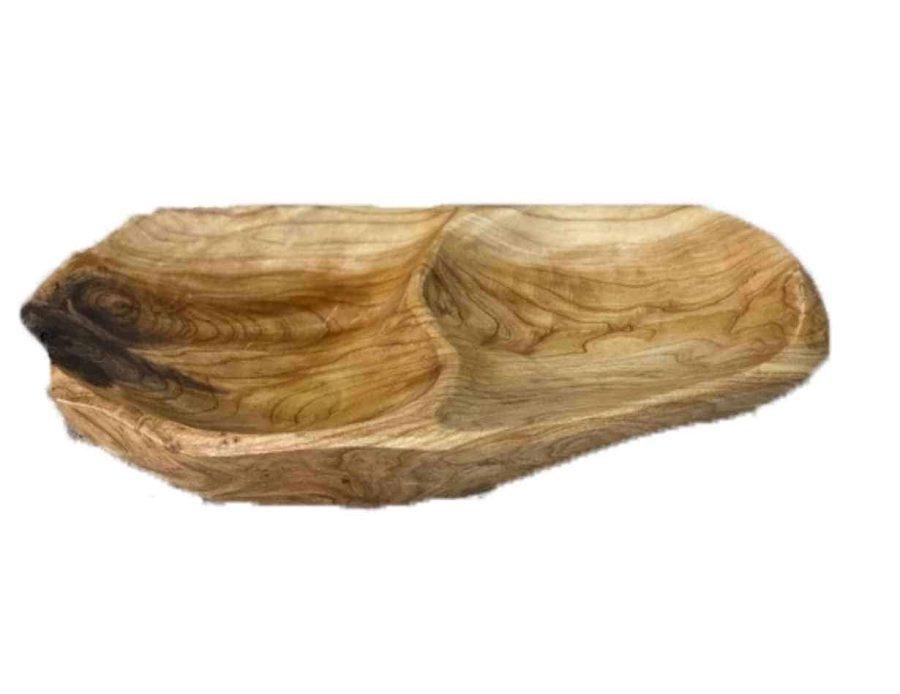 מגש מחולק עץ אגוז - כלי הגשה מעץ