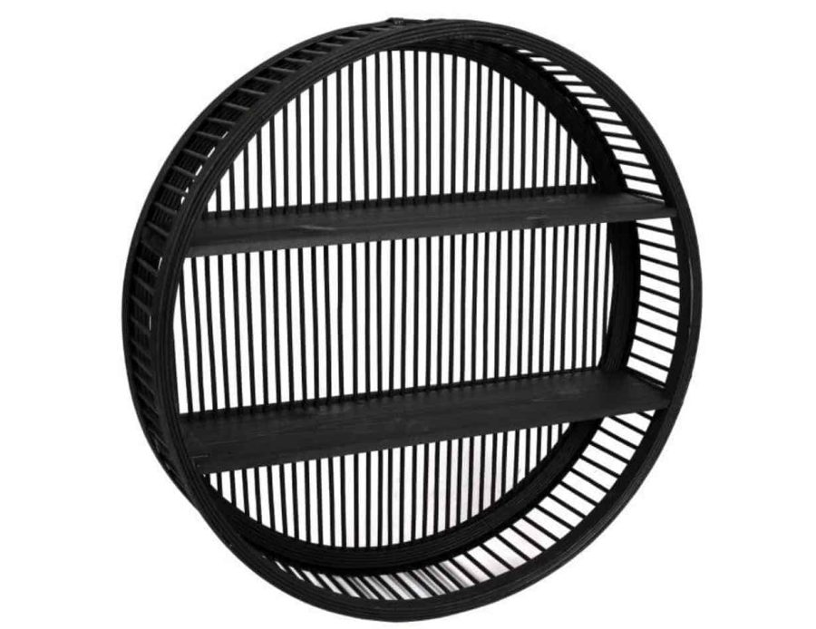 מדף במבוק עגול בצבע שחור בסגנון בוהו כפרי