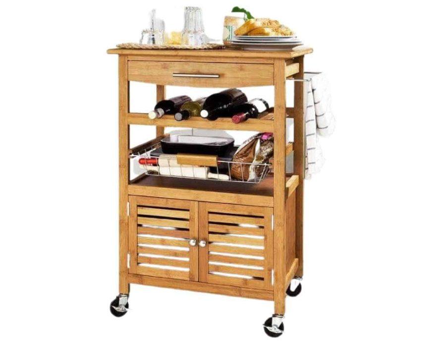 עגלת שירות עשויה עץ - מתאים במיוחד למטבח