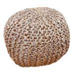 פוף סרוג חבל פשתן בסגנון כפרי בוהו שיק