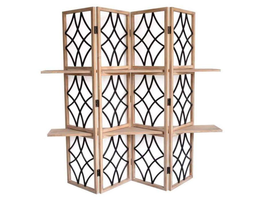 פרגוד מדפים עץ טבעי משולב ברזל