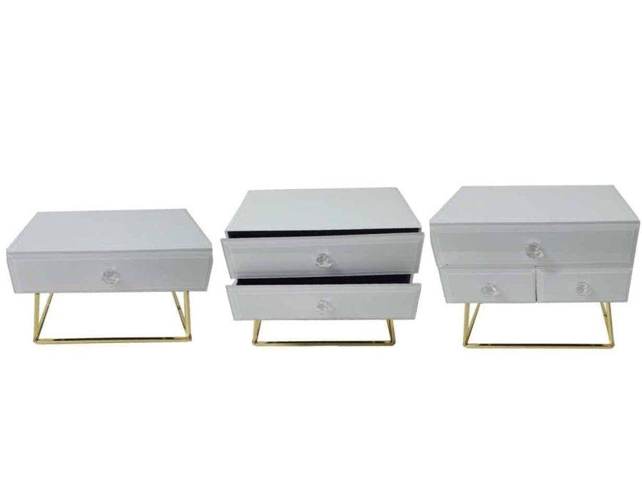קופסת תכשיטים זכוכית לבנה עם מגירות