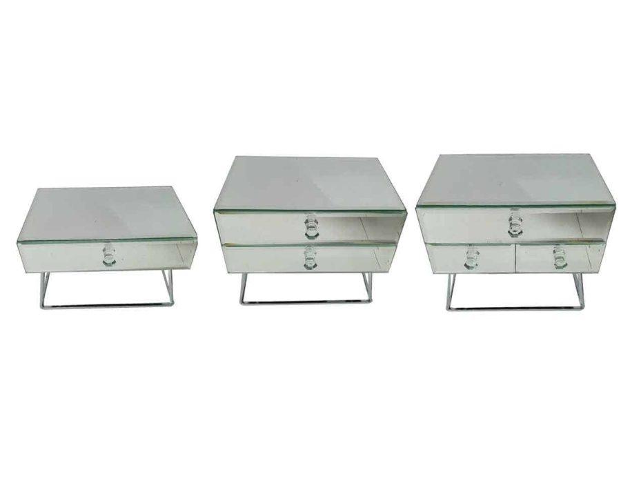 קופסת תכשיטים זכוכית מראה עם מגירות