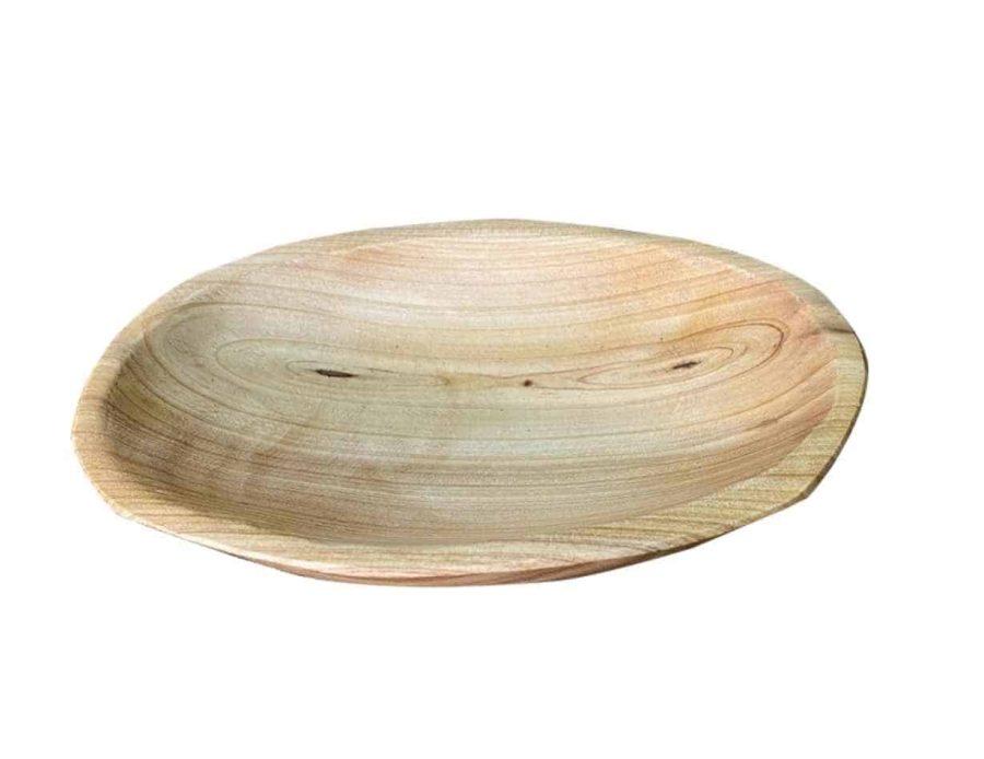 קערית עץ אובלי - כלי הגשה מעץ