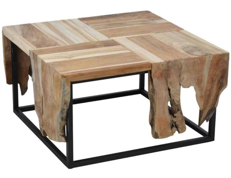 שולחן עץ מרובע לסלון - ריהוט משלים