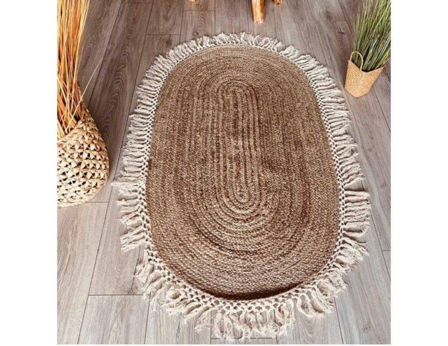 שטיח חבל אובלי עם פרנזים - בסגנון בוהו שיק כפרי
