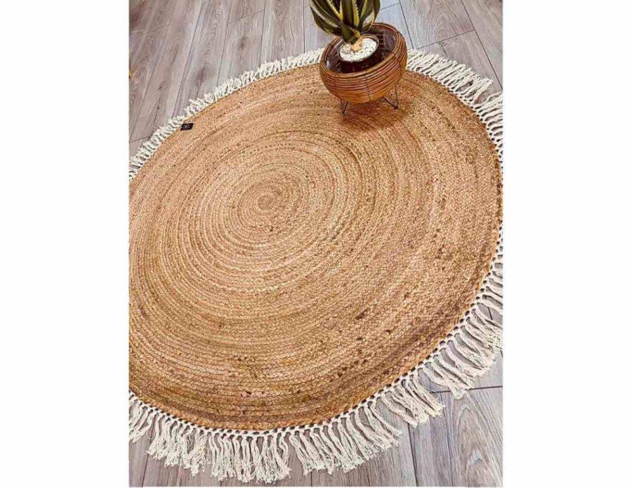שטיח חבל עגול טבעי עם פרנזים לבנים מכותנה - שטיח בסגנון בוהו שיק כפרי