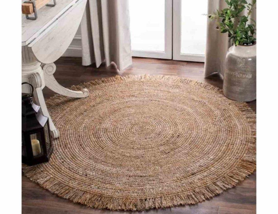 שטיח חבל קלוע פרנזים בסגנון בוהו שיק כפרי