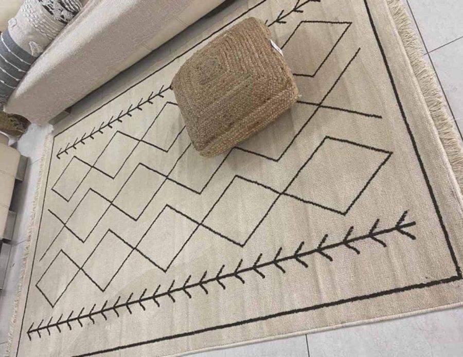 שטיח לסלון בצבע שמנת עשוי כותנה - מרקו פולו בסגנון בוהו שיק